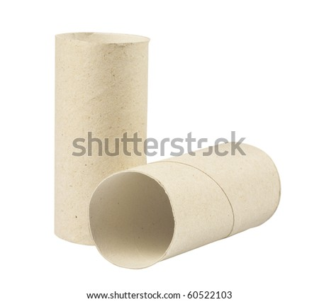 Toilet paper rolls,Isolated on white with clipping paths. - stock photo