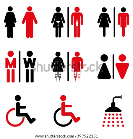 Toilet Persons glyph icon set. Style is bicolor intensive red and black flat symbols isolated on a white background.