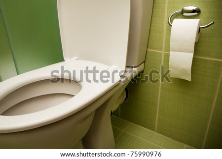 Toilet seat and paper in nice clean bathroom - stock photo