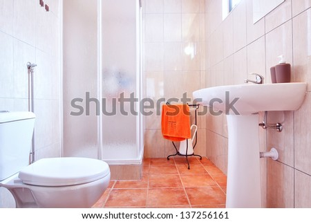 Toilet shower bathroom. Classic style. - stock photo