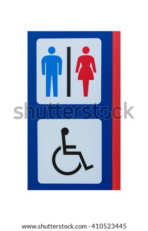Toilet sign for men women and cripple isolated on white background. object with clipping path. - stock photo