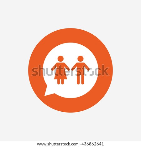 Toilet sign icon. Restroom or lavatory speech bubble symbol. Orange circle button with icon.
