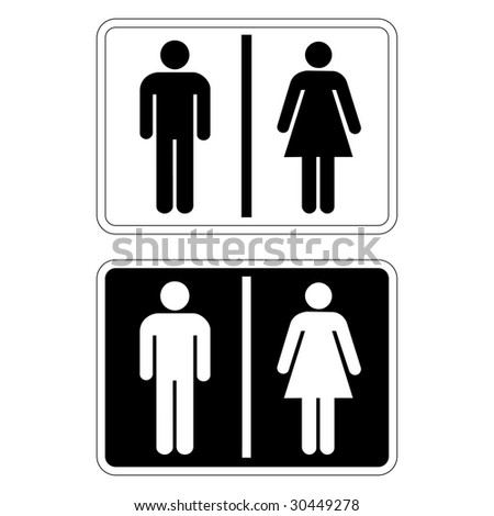 Toilet sign in black and white