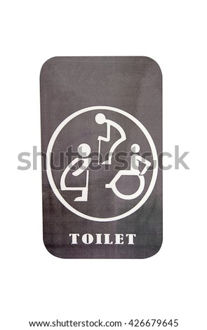 Toilet sign isolated on white background,Restroom sign   - stock photo