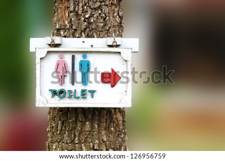 toilet sign with arrow on the tree - stock photo
