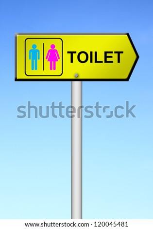 toilet sign with blue sky background