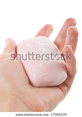 toilet soap with foam in woman's hand