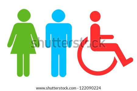 Toilet Symbols Men Women Wheelchair Stock Illustration 122090224