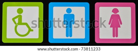 Toilet symbols for men and women and wheelchair - stock photo