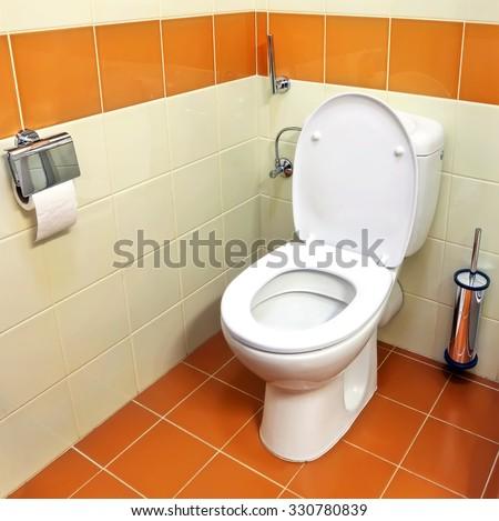 Toilet (toilet bowl, paper) - stock photo