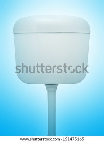 toilet water tank isolated on blue - stock photo