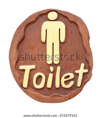 Toilet WC sign for men on white background, handmade from wood - stock photo