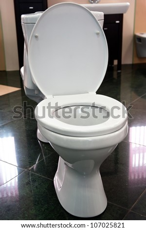 toilet with the opened lid