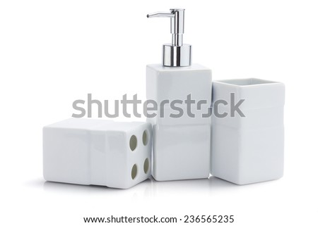 Toiletries Dispenser And Containers On White Background - stock photo