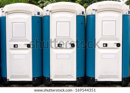 Toilette cabins outside - stock photo