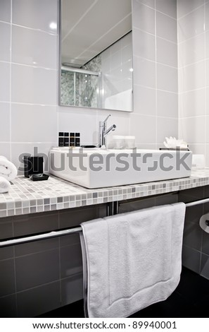 toilette room in hotel - stock photo