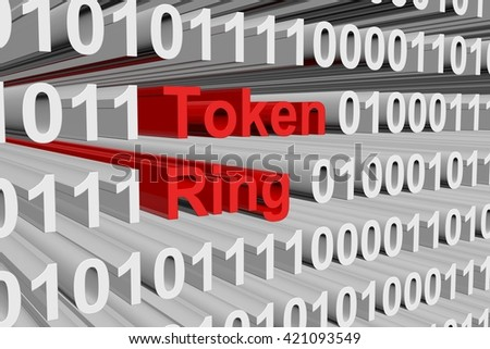 Token ring in the form of binary code, 3D illustration