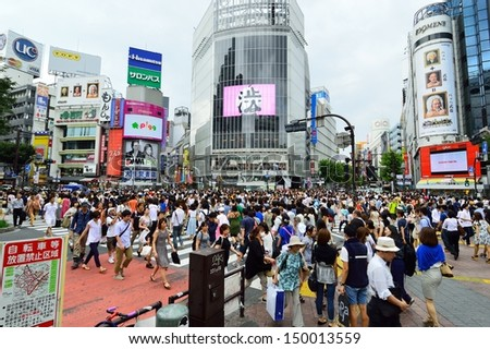 TOKYO - AUGUST 03: Crowds of people crossing the center of Shibuya in August 03 2013, the most important commercial center in Tokyo, Japan - stock photo