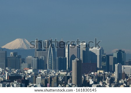 Tokyo city and mount Fuji, Shinjuku, Japan - stock photo