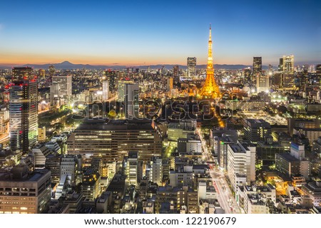 Tokyo city and Mt Fuji at twilight, - stock photo