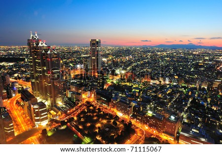 Tokyo city and Mt. Fuji in twilight - stock photo