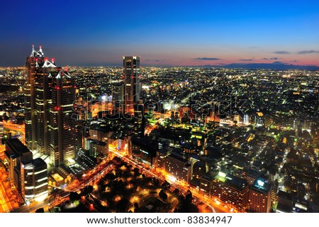 Tokyo City and Mt Fuji in twilight - stock photo