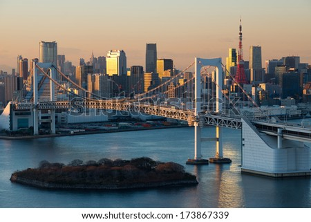 Tokyo city and Rainbow bridge ,Japan - stock photo