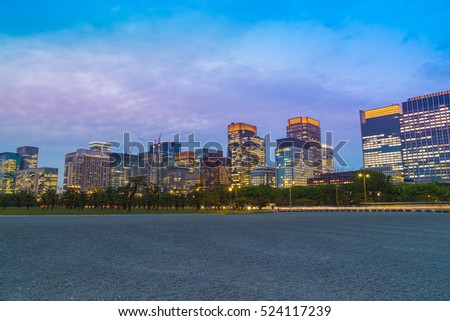 tokyo city at twilight, view from empty footpath, Japan