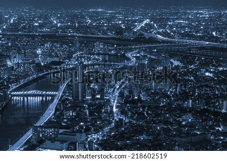 Tokyo city sky view at night - stock photo