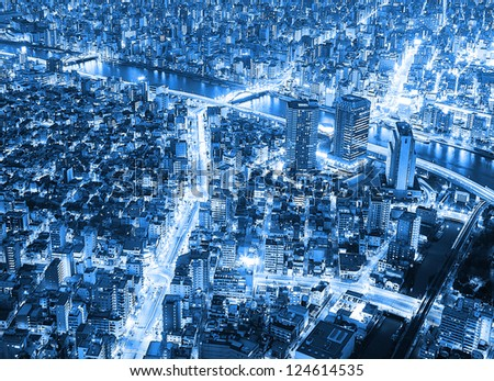 Tokyo city sky view at night in blue tone - stock photo