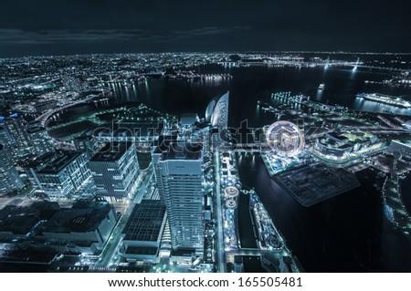 Tokyo city sky view at night, Yokohama. - stock photo