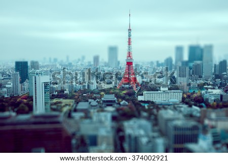 Tokyo city skyline at dusk, Tokyo Japan - stock photo