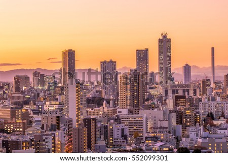 Tokyo city skyline at sunset in Japan