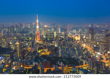Tokyo city skyline at sunset in Tokyo, Japan. - stock photo