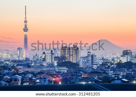 Tokyo city view  and mountain fuji - stock photo