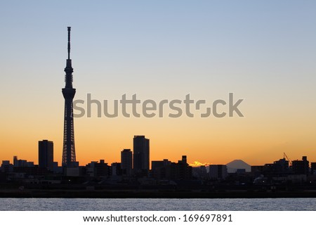 Tokyo city view and tokyo skytree with Mt Fuji , sihouette skyline - stock photo