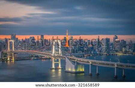 Tokyo city view with Tokyo rainbow bridge and Tokyo Tower - stock photo