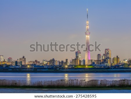 Tokyo city view with Tokyo sky tree and river in evening - stock photo