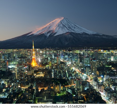 Tokyo City with Mount Fuji in the background, Japan
