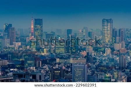 Tokyo cityscape - stock photo