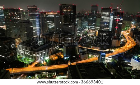 Tokyo cityscape and highway - Japan - stock photo