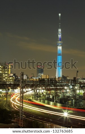 TOKYO - DEC27 : View of Tokyo Sky Tree (634m) at night, the highest free-standing structure in Japan and 2nd in the world with over 10million visitors each year, on Dec27, 2012 in Tokyo, Japan - stock photo