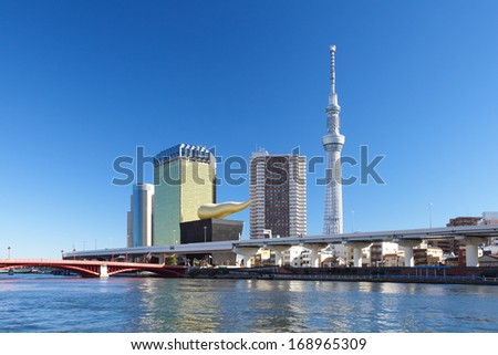 TOKYO - DEC 29, 2013 : View of Tokyo Sky Tree (634m) , the highest free-standing structure in Japan and 2nd in the world with over 10 million visitors each year, on Dec 29 , 2013 in Tokyo, Japan.  - stock photo