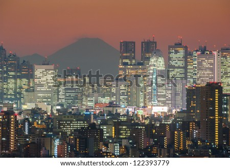 TOKYO - DEC.7: With over 35 million people, Tokyo is the world's most populous metropolis and is described as one of the three command centers for world economy December 7, 2012 in Tokyo, Japan - stock photo