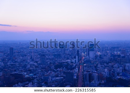 Tokyo in the twilight, direction to Shibuya, Shinjuku - stock photo