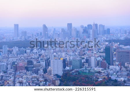 Tokyo in the twilight, direction to Shibuya, Shinjuku - stock photo