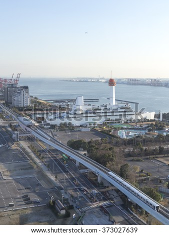 Tokyo - January 29, 2015: Tokyo Bay, the Sea Museum and explore the monorail, which are located in the Odaiba neighborhood, in the early morning on Jan. 29, 2015, Tokyo, Japan