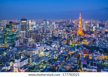 Tokyo, Japan aerial cityscape view of Tokyo Tower at dusk. - stock photo
