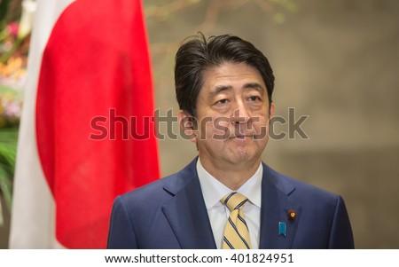 TOKYO, JAPAN - Apr 06, 2016: Japanese Prime Minister Shinzo Abe during his meeting with President of Ukraine Petro Poroshenko in Tokyo - stock photo