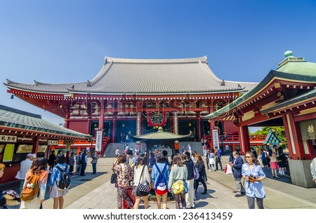 TOKYO,JAPAN - 23 April 2014 : Sensoji temple is Tokyo's most famous and popular temple.It is also one of its oldest, although the current buildings are postwar reconstructions.